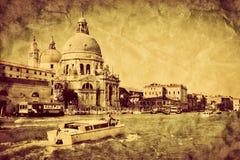 Venecia, Italia Canal magnífico y saludo del della de Santa María de la basílica fotos de archivo