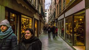 VENECIA, ITALIA - 15 DE FEBRERO DE 2018: Tráfico turístico de calles estrechas en Venecia, Italia Timelapse 4K almacen de video