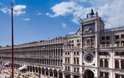 Venecia, torre de reloj Plaza de San Marcos de St Mark, Imagen de archivo libre de regalías