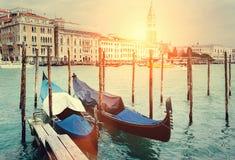 Venecian gondolas on Grande Chanel Royalty Free Stock Images