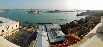 Venecian Panorama (South). Southbound Panorama (160 Degrees) from the tower at San Marc's Square, Venezia, Italy Stock Photos