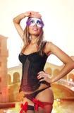 Veneciano sexual en alineada del carnaval Imágenes de archivo libres de regalías