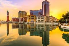 Veneciano, torre y mercados Macao foto de archivo