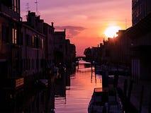 Venedig-Ansicht vom Sonnenuntergang, Kanal Stockbild