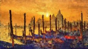 Venedig auf Sonnenuntergang lizenzfreie abbildung