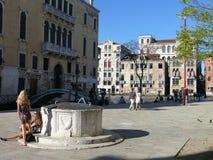 Venedig - Campo di San Vio Arkivbild