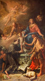 Venedig - den heliga familjen med Stet Anthony av Padua och St John det baptistiskt i den kyrkliga Chiesa deien Santi apostoli xi Arkivfoton