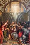 Venedig - der Abfall des heiligen Geistes durch Titian (1488 - 1576) in der Kirche Santa Maria della Salute Lizenzfreies Stockfoto
