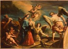 Venedig - der Flug in Ägypten-Szene (1733) durch Gaspare Diziani in der Kirche Chiesa di San Stefano Lizenzfreies Stockbild