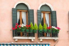 Venedig fönster med blommor royaltyfria foton
