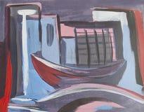 Venedig fartyg i staden, abstrakt teckning Royaltyfri Fotografi