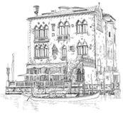 Venedig Forntida byggnad & gondol Royaltyfri Fotografi