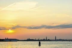 Venedig från havet på solnedgången Royaltyfria Bilder