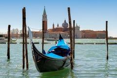 Venedig gondol på San Marco arkivbild