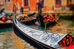 Venedig gondolCloseup Arkivbilder