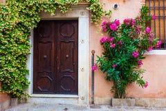 Venedig-Haustür mit Anlagen Lizenzfreies Stockfoto