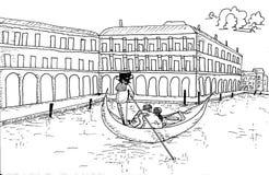 Venedig horisont med gondolhanden som dras för färgläggningboken för vuxen människa Royaltyfria Bilder