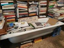 Venedig i vintertid på arkivet för den aquaalta boken shoppar med den lokala katten och böckerna arkivfoto