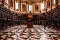 VENEDIG ITALIEN - AUGUSTI 20, 2016: Berömd arkitektoniska monument och kyrkligt inomhus av den gamla medeltida San Giorgio Maggio Arkivbilder