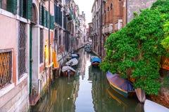 Venedig Italien, den Redentore festen, ser av en flod och ett hus, august 2016 Royaltyfria Foton