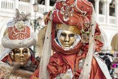 Venedig, Italien - 5. Februar 2018 - die Masken von Karneval 2018 Stockbilder