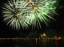 Venedig, Italien - Feuerwerke am Festival des Erlösers Stockbild