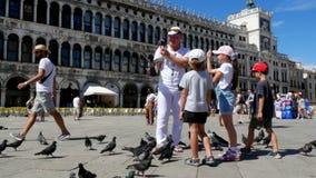 Venedig, Italien - 7. Juli 2018: Ansicht des glücklichen Mann- und Kindermädchens, Touristen, die Tauben, einziehend halten, spie stock video