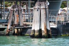 Venedig Italien kanalPilings Arkivfoton
