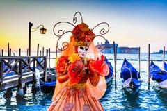 Venedig Italien - karneval i piazza San Marco royaltyfri fotografi