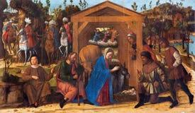 VENEDIG ITALIEN - MARS 13, 2014: Tillbedjan av herdarna målar vid Giovanni Manuseti från 14 cent Royaltyfria Bilder