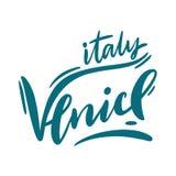 Venedig, Italien Reise- oder Postkartenschablonenhandgezogene Vektorbeschriftung Getrennt auf weißem Hintergrund Auch im corel ab stock abbildung