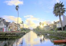 Venedig kanaler, Los Angeles, Kalifornien Fotografering för Bildbyråer