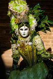 Venedig Karneval-maskering med dräkten i olika gröna skuggor fotografering för bildbyråer