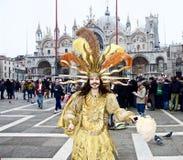 Venedig karneval Paricipant Arkivbild