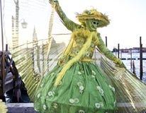 Venedig karnevaldeltagare royaltyfria bilder