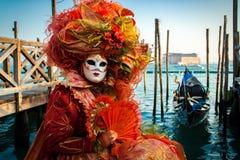 Venedig karnevaldräkt Arkivfoto