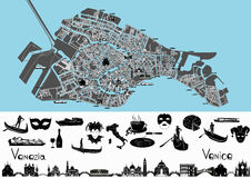 Venedig-Karte mit Symbolen und Marksteinen Lizenzfreie Stockfotos