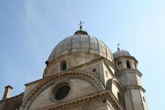 Venedig kyrka av den Santa Maria deien Miracoli arkivfoto