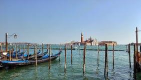 Venedig lagun från gondolerna Arkivfoton