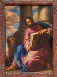 Venedig - målarfärg av St Mark evangelisten i kyrkliga Santa Maria della Salute Royaltyfri Bild