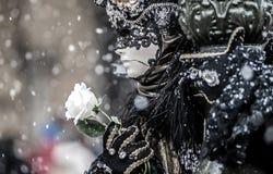 Venedig-Maske und -schnee Lizenzfreies Stockbild
