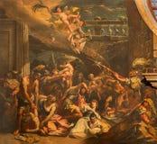 Venedig - massakern av oskyldigplatsen (1733) vid Gaspare Diziani i kyrkliga Chiesa di San Stefano Royaltyfria Bilder