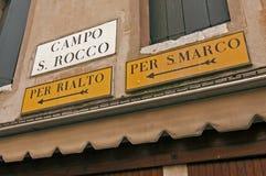 Venedig-Richtungen Lizenzfreie Stockfotografie