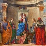 Venedig - Sacra conversazione durch Giovanni Bellini (1505) von Kirche Chiesa di San Zaccaria stockfotos