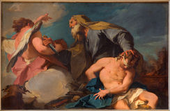 Venedig - Sacrificio di Isacco (Abraham och Isaac) vid G B Pittoni (1713) i kyrkliga San Francesco della Vigna Arkivbilder