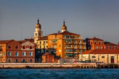 Venedig-Skyline und Kirche des Heiligen Raphael Angel, Venedig, Italien Lizenzfreie Stockbilder