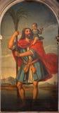 Venedig - St Christopher av Giambattista Cima da Conegliano (1460 - 1518) i kyrkliga Chiesa di San Stefano Royaltyfri Bild