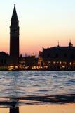 Venedig - St Marc Square på solnedgången royaltyfri bild