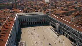 Venedig St Mark fyrkantig sikt från över lager videofilmer