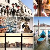 Venedig stadscollage royaltyfri fotografi